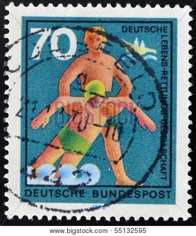 A stamp printed in Germany from the