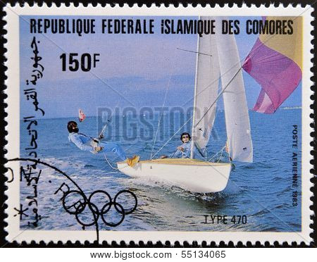 A stamp printed in Comores dedicated to the Olympic sailing shows Type 470