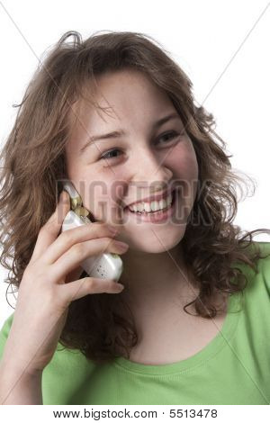 Happy teenage girl with a mobile phone