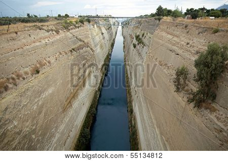 Overview Of Corinth Canal In Greece