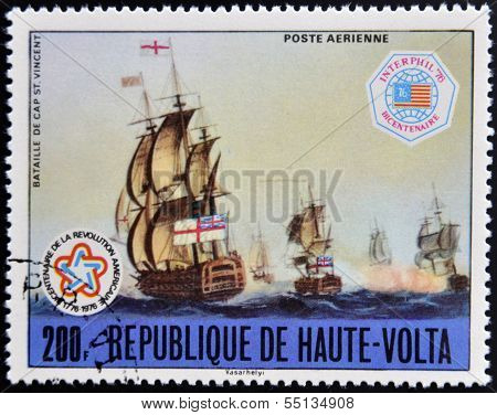 stamp shows image of the Battle of Cape St. Vincent