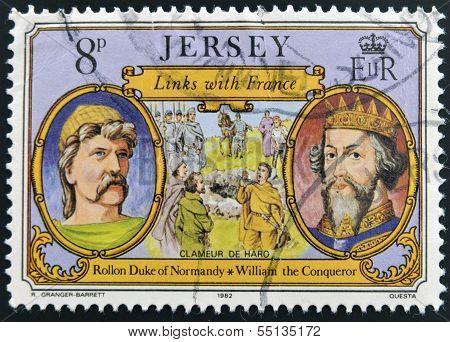 stamp shows links with France Rollon Duke of Normandy and William the Conqueror