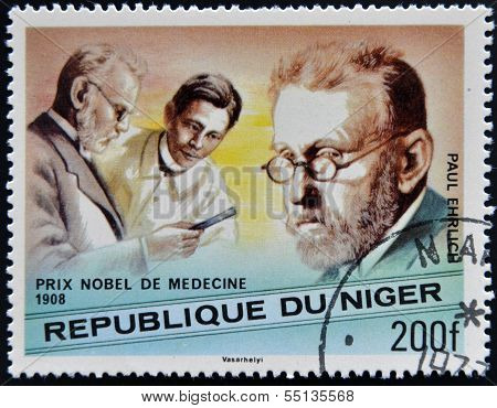 A stamp printed in Niger shows Nobel Prize in Medicine Paul Ehrlich