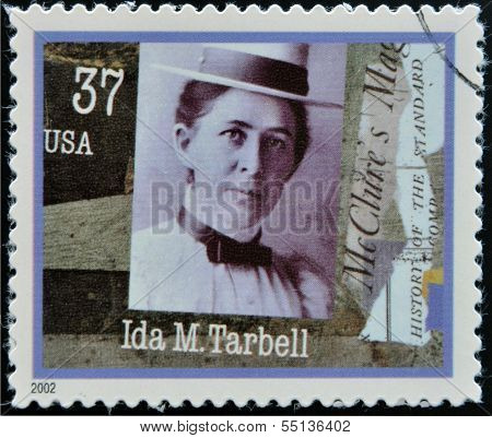 A stamp printed in USA dedicated to Women in Journalism shows Ida M. Tarbell