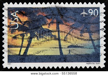 A stamp printed in USA shows image of Hagatna Bay in Guam