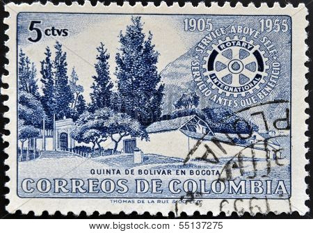 A stamp printed in Colombia shows villa of Bolivar in Bogota