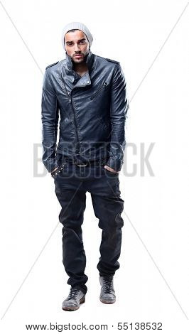 Stylish young man posing and looking at camera isolated on white