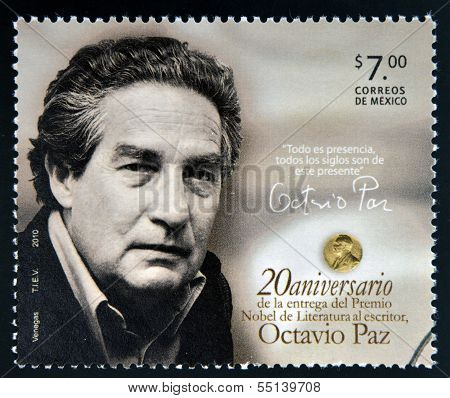 MEXICO - CIRCA 2010: A stamp printed in Mexico shows Octavio Paz Nobel Prize for Literature