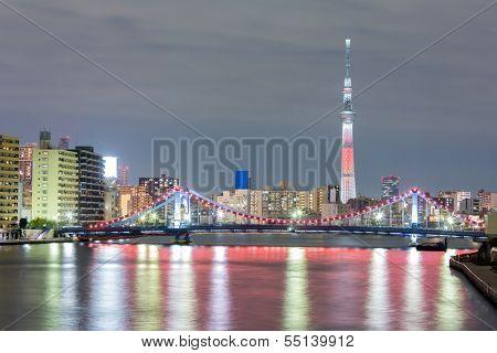 Tokyo cityscape  and Tokyo skytree at night along river