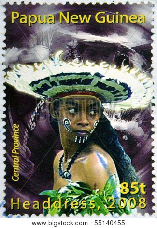 Stamp printed in Papua New Guinea shows a woman in a feathered headdress from the Central Province