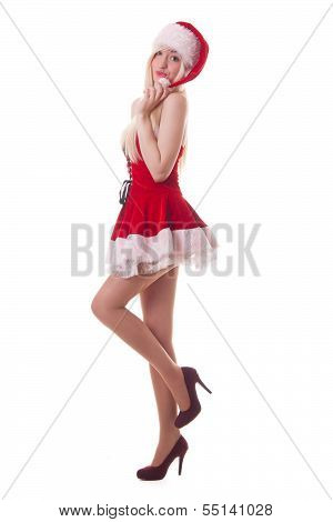 Portrait Of  A Young Attractive Sexy Santa Girl