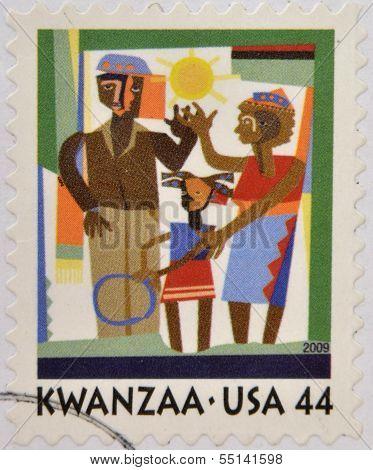 UNITED STATES - CIRCA 2009: A stamp printed in USA shows Kwanzaa celebration circa 2009
