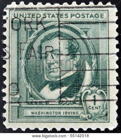 UNITED STATES OF AMERICA - CIRCA 1940: A stamp printed in USA shows Washington Irving circa 1940