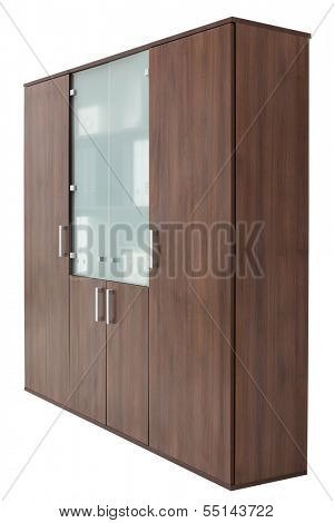 brown office cupboard on a white background
