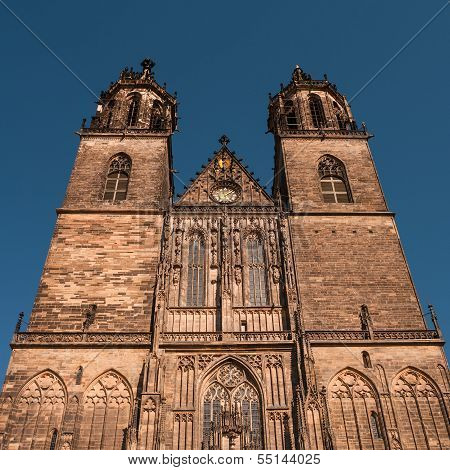 Cathedral Of Magdeburg At River Elbe, Germany