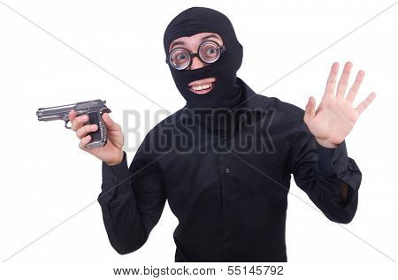Funny gangster isolated on the white