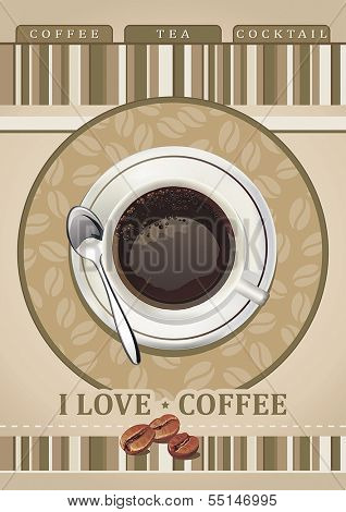 Menu with cup of coffee and grains for coffeehouse, restaurant, cafe, bar. Vector illustration