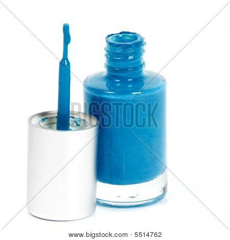 Blue Nail Polish On White Background