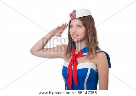 Young airhostess saluting isolated on white