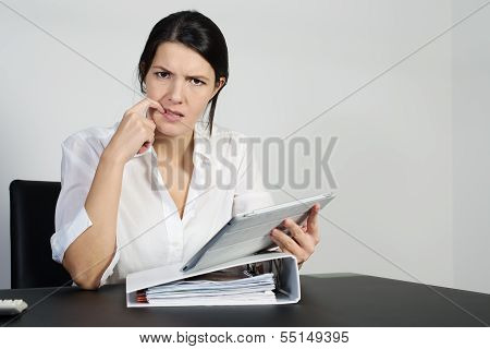 Puzzled Woman Thinking Hard