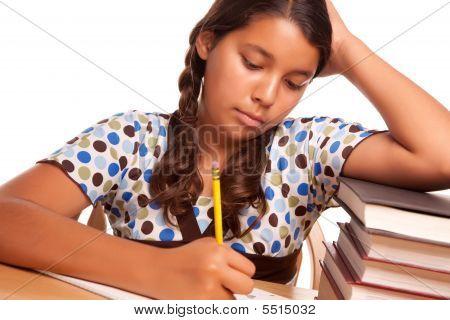 Pretty Hispanic Girl Studying