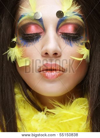 Holiday Bright Make-up.Beautiful Woman's Face