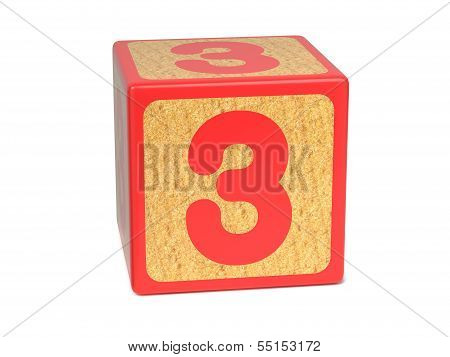 Number 3 - Childrens Alphabet Block.