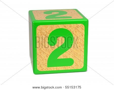Number 2 - Childrens Alphabet Block.