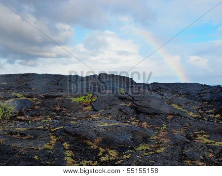 Rainbow Over Lava Field