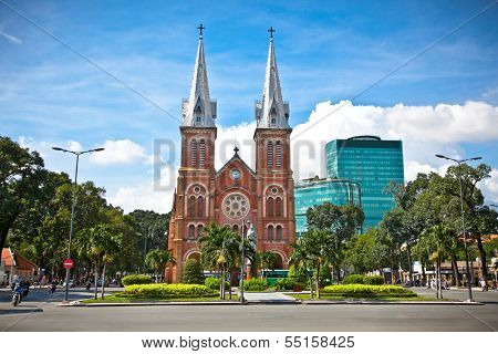 Notre-Dame Cathedral landmark in Ho Chi Minh City, Vietnam.