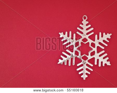 Sliver Snowflake On Red
