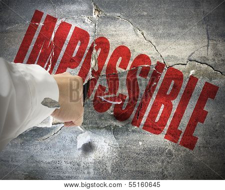 Punching, Break Concrete Wall With Word Impossible On It, Make It Possible