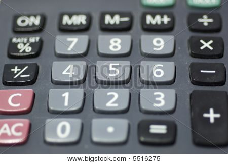 Calculator Keypad, Showing The Main Keys Used.