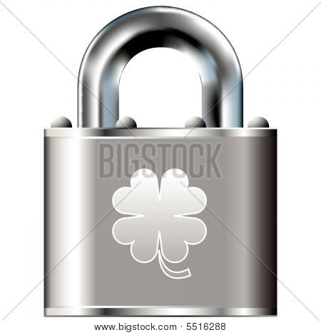 Four Leaf Clover Icon On Vector Lock