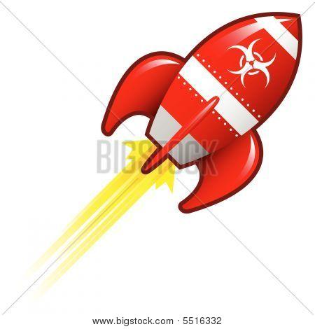 Biohazard Symbol On Retro Rocket