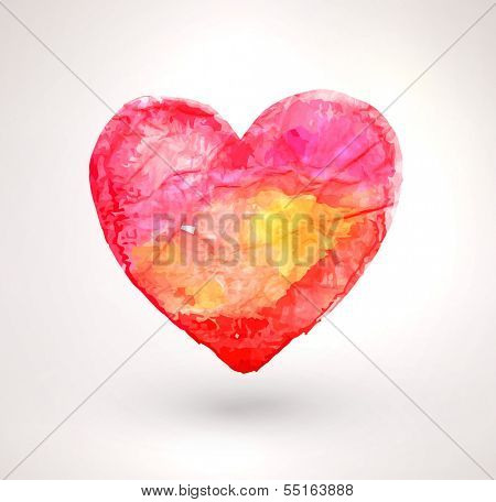 Watercolor vector heart for vintage design. Paper texture element. Happy Valentines Day Illustration.