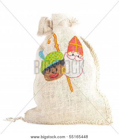 Bag With Traditional Sint And Piet  Isolated On White Background