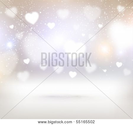 Valentine's Day Background with Hearts. Vector Love Design.