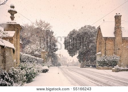 English Village With Snow poster
