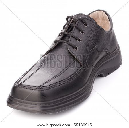 Black glossy man�?�¢??s shoes] with shoelaces isolated on white background