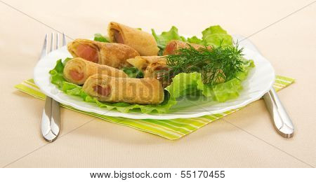 Flapjack with salmon and salad