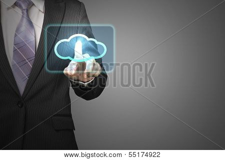 Cloud Computing Service Concept, Businessman Touch Cloud Icon In Space For Launching Service In Gray