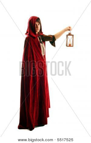 Girl In Red Cloak With A Candle-lantern