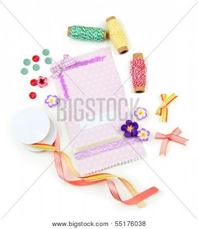 Beautiful hand made post card and scrapbooking elements, isolated on white