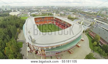 MOSCOW - SEPTEMBER 07: (view from unmanned quadrocopter) Locomotive Stadium and panorama of city, on September 07, 2013 in Moscow, Russia. Capacity of stadium is 28800 spectators.