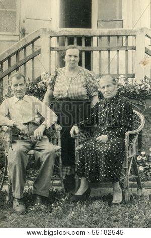 GANSERNDORF, AUSTRIA, CIRCA 1930s: Vintage photo of farmers family, Ganserndorf, Austria, circa 1930s