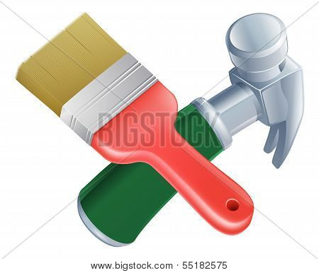 Crossed Paintbrush And Hammer Tools