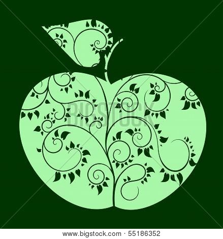 Vector apple with curved tree