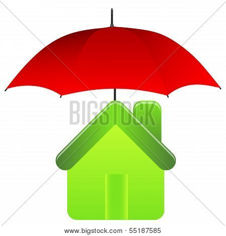 Green house under red umbrella. Insurance concept.