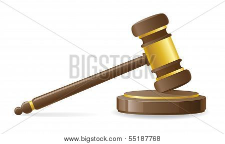 Judicial Or Auction Gavel Vector Illustration